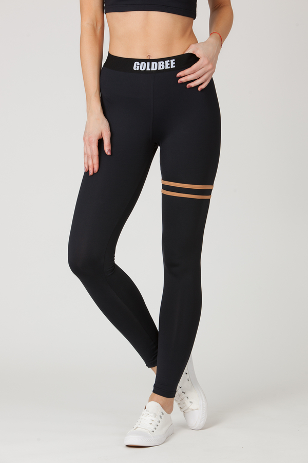 GoldBee Legíny BeStripe Up Black&Latté - XS, XS - 2