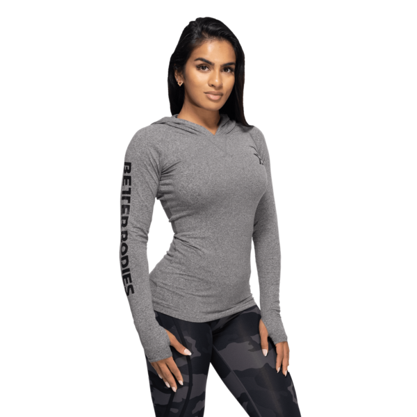 Better Bodies Tričko Performance Long Sleeve Hood Graphite Melange - XS, XS - 2