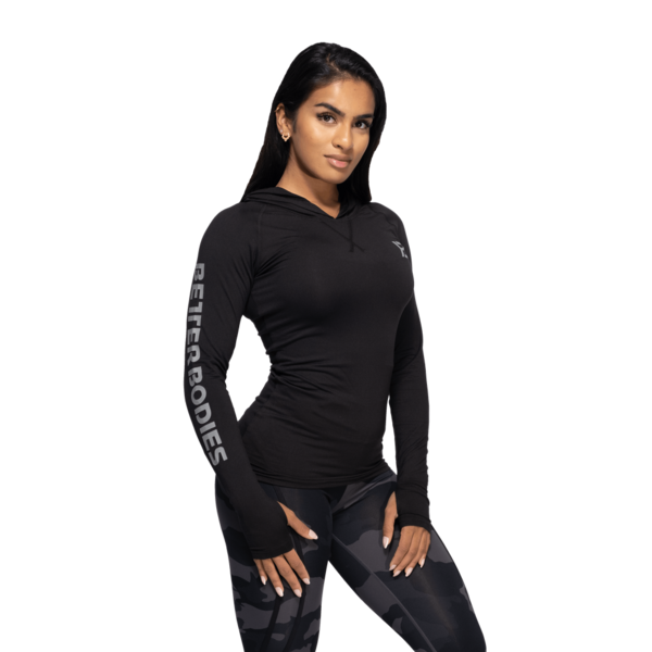 Better Bodies Tričko Performance Long Sleeve Hood Black and Grey - S, S - 2