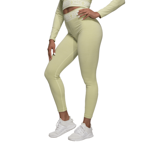 Better Bodies Legíny Rib Seamless Mellow Green Melange - S, S - 2