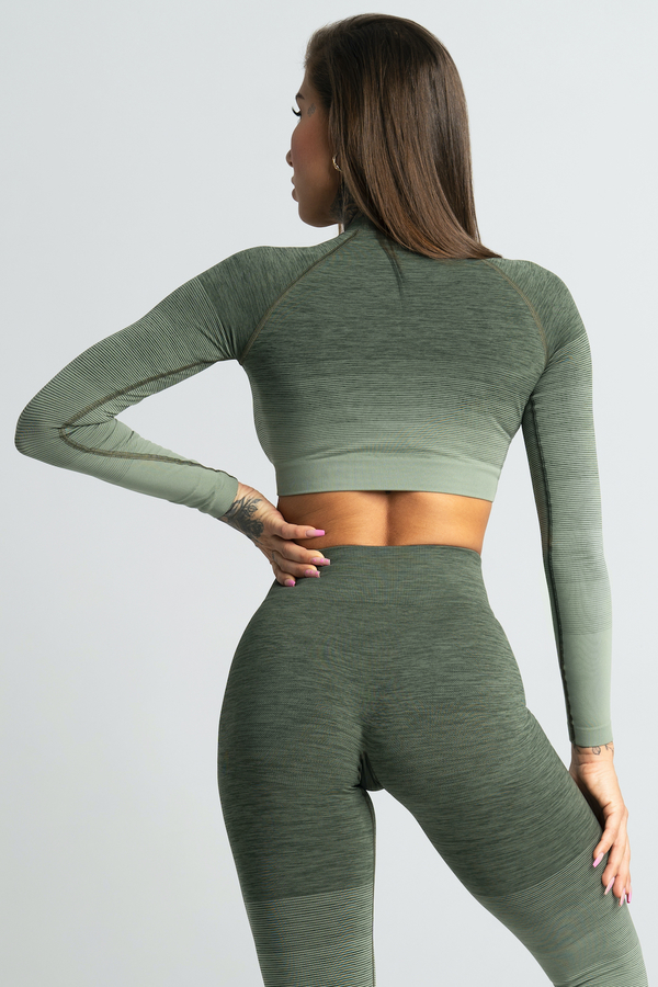 Gym Glamour Crop-Top Khaki Ombre - L, L - 2