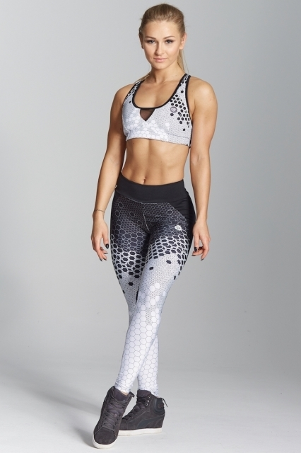 Gym Glamour Legíny White Honey Combs - S, S - 2