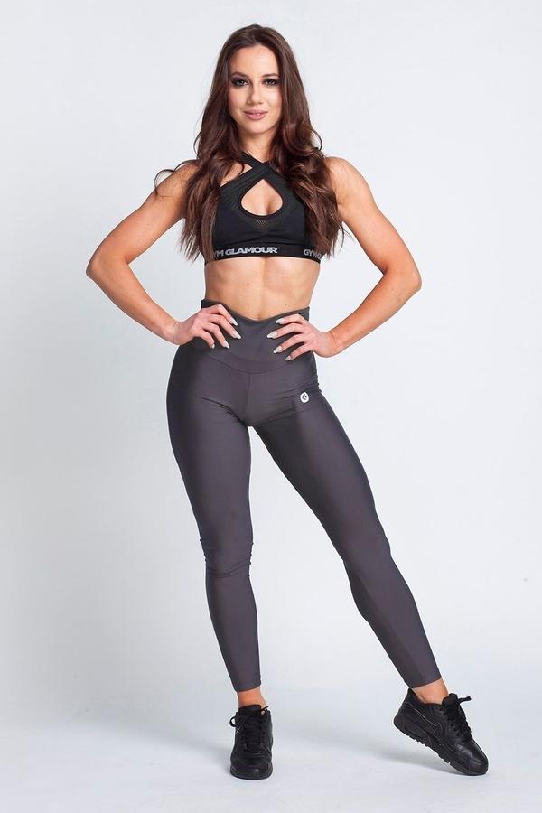 Gym Glamour Legíny High Waist Dark Grey - L, L - 2