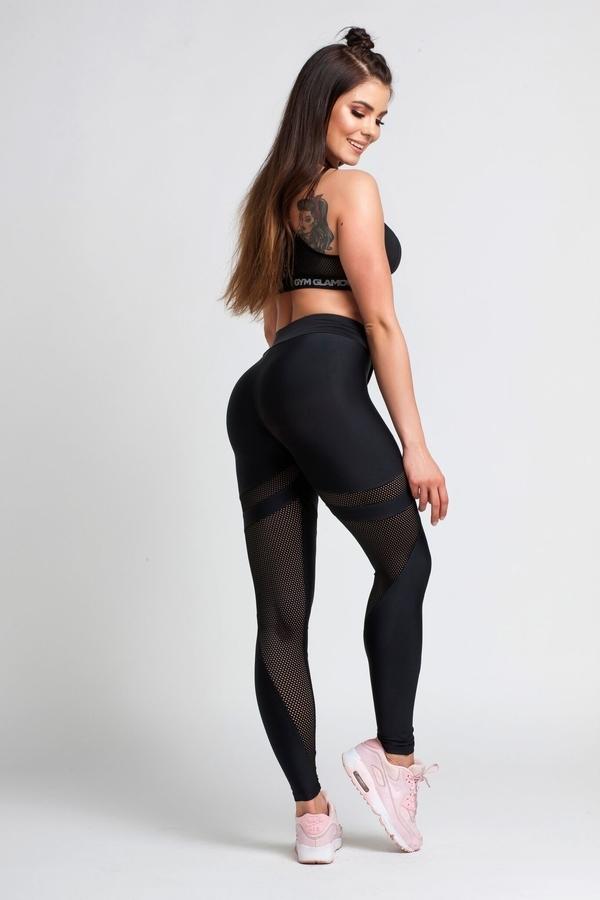 Gym Glamour Legíny Black Mesh - M, M - 2