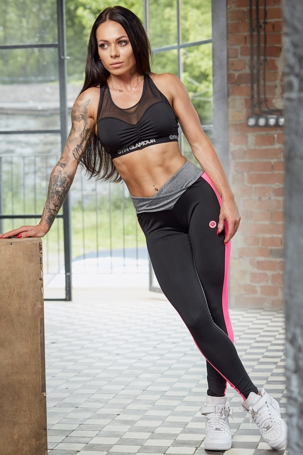 Gym Glamour Legíny S Pink Fluo Pruhem - M, M - 2