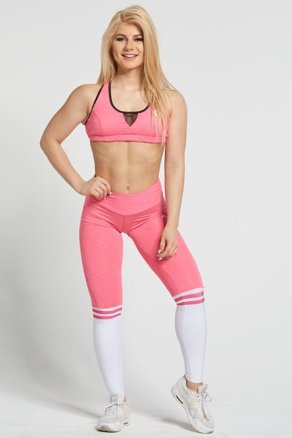 Gym Glamour Legíny Pink & White Socks - S, S - 2
