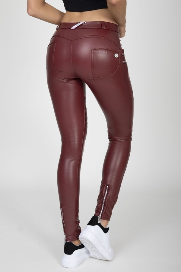 Hugz Wine Faux Leather Biker Mid Waist - M, M - 2