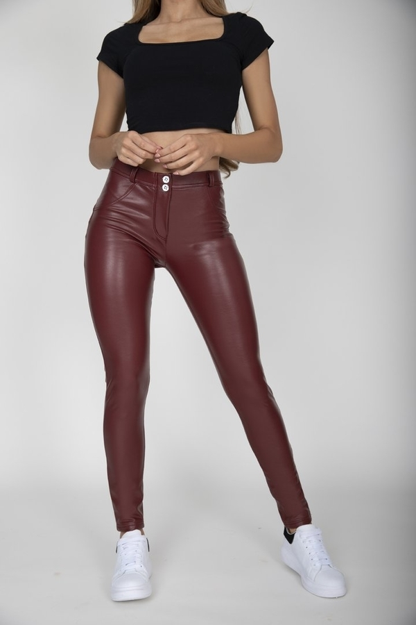 Hugz Wine Faux Leather Mid Waist - S, S - 2