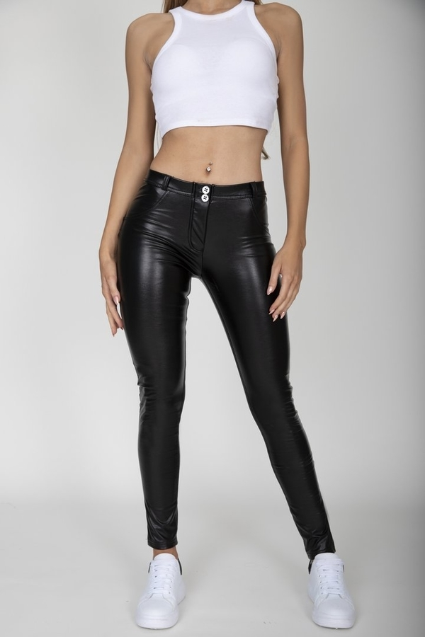 Hugz Black Faux Leather Mid Waist - M, M - 2