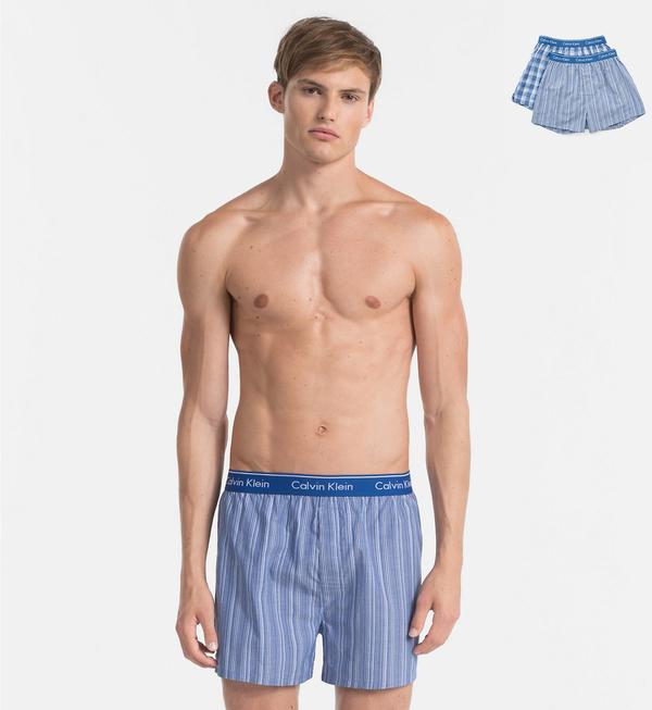 Calvin Klein 2Pack Trenky Modré Se Vzory - 3