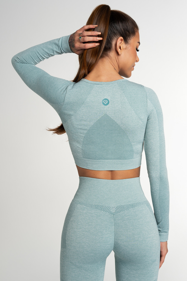 Gym Glamour Crop Top Seamless Fusion Green, M - 3