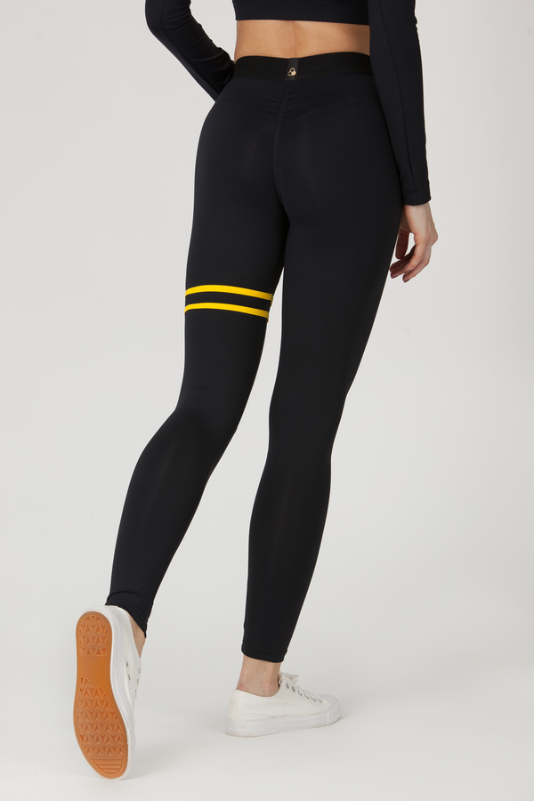 GoldBee Legíny BeStripe Up Black&Yellow - S, S - 3
