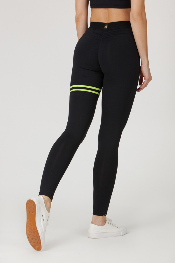 GoldBee Legíny BeStripe Up Black&Lime - S, S - 3