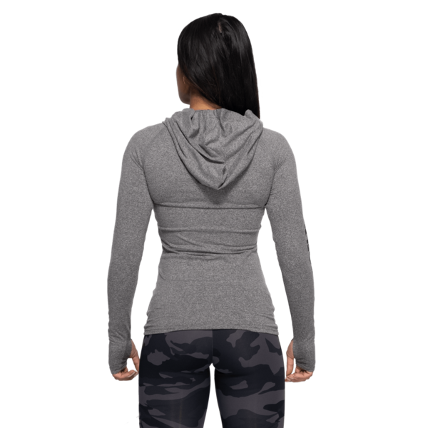 Better Bodies Tričko Performance Long Sleeve Hood Graphite Melange - XS, XS - 3