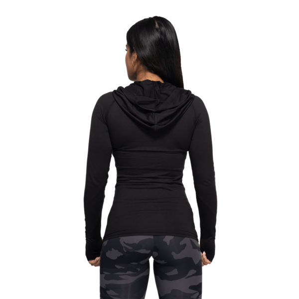 Better Bodies Tričko Performance Long Sleeve Hood Black and Grey - S, S - 3