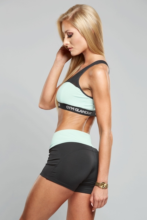 Gym Glamour Shorts Black & Sea, XS - 3