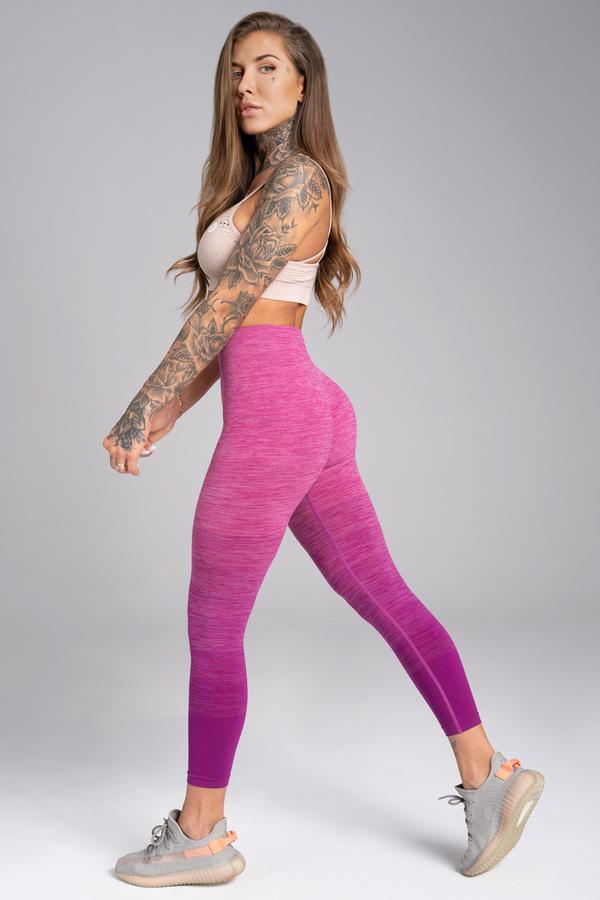 Gym Glamour Legíny Bezešvé Pink Ombré - M, M - 3