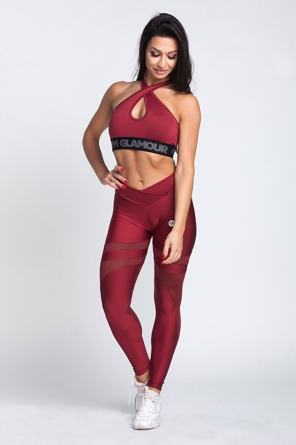 Gym Glamour Leggings Burgund Mesh, L - 3