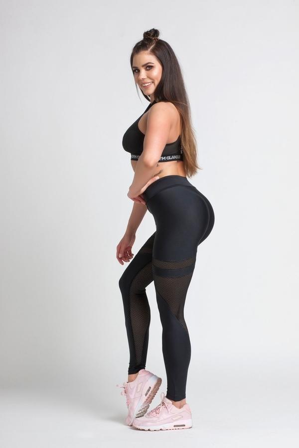 Gym Glamour Legíny Black Mesh - M, M - 3