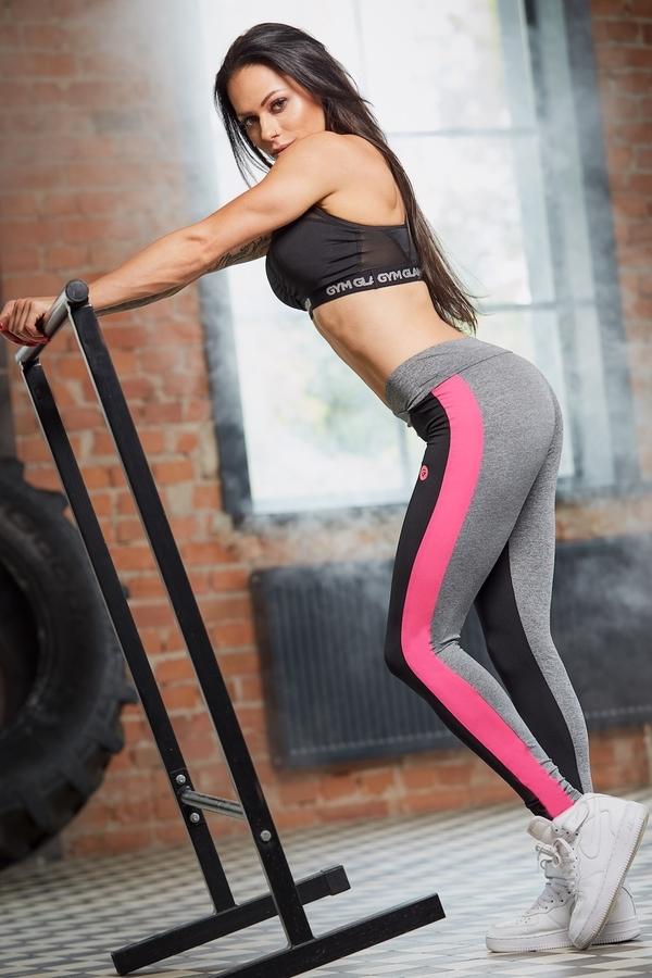 Gym Glamour Legíny S Pink Fluo Pruhem - M, M - 3