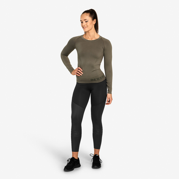 Better Bodies Tričko Nolita Seamless Long Sleeve Washed Green - XS, XS - 3