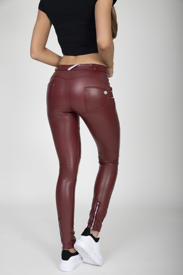 Hugz Wine Faux Leather Biker Mid Waist - M, M - 3