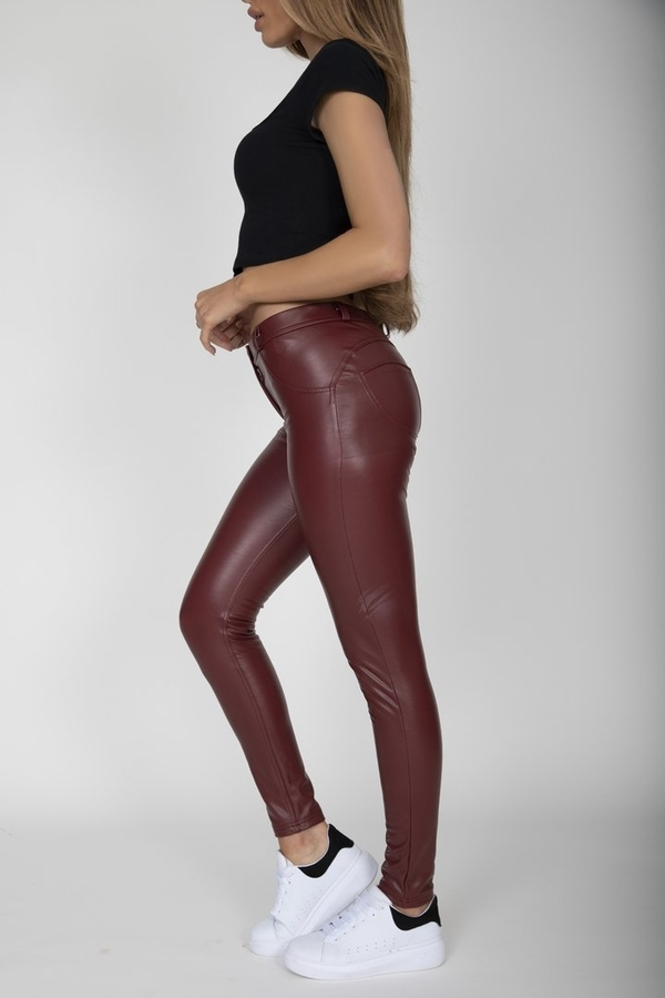 Hugz Wine Faux Leather Mid Waist - S, S - 3