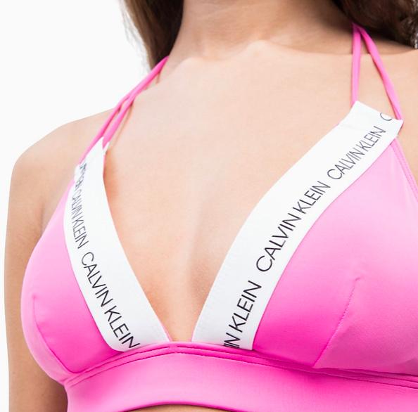 Calvin Klein Plavky CK Logo Triangle Phlox Pink Vrchní Díl - 3