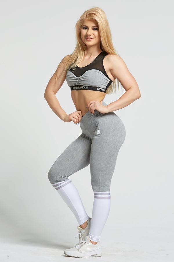 Gym Glamour Legíny Grey & White Socks - M, M - 4