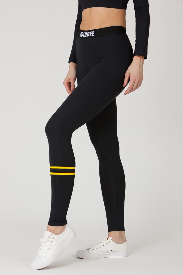 GoldBee Leggings BeStripe Down Black&Yellow, S - 4