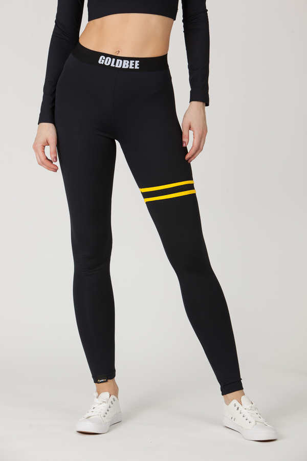 GoldBee Legíny BeStripe Up Black&Yellow - S, S - 4