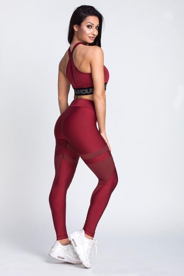 Gym Glamour Leggings Burgund Mesh, L - 4