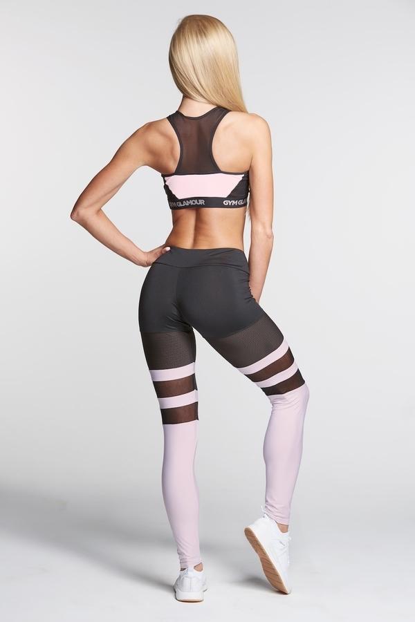 Gym Glamour Legíny Mesh And Pink Socks - XS, XS - 4