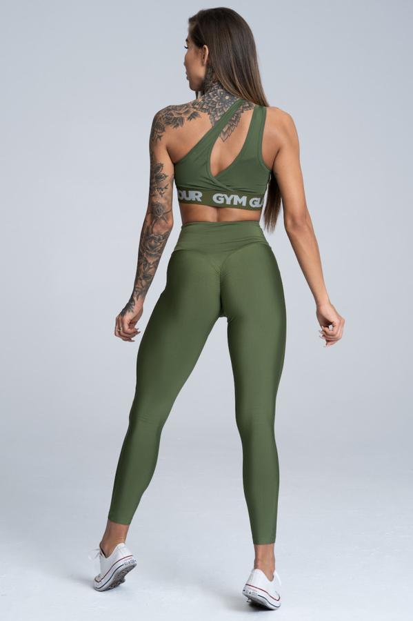 Gym Glamour Legíny High Waist Khaki - M, M - 4