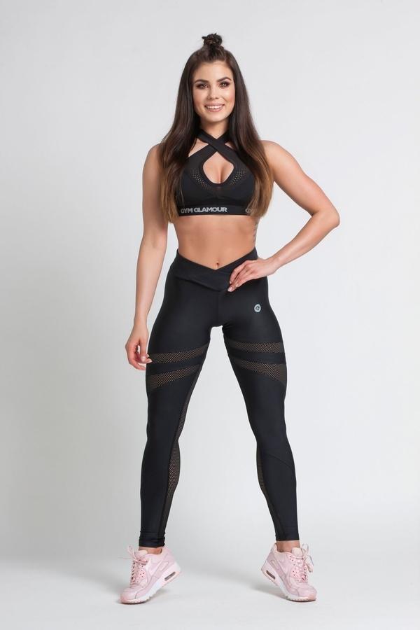 Gym Glamour Legíny Black Mesh - M, M - 4