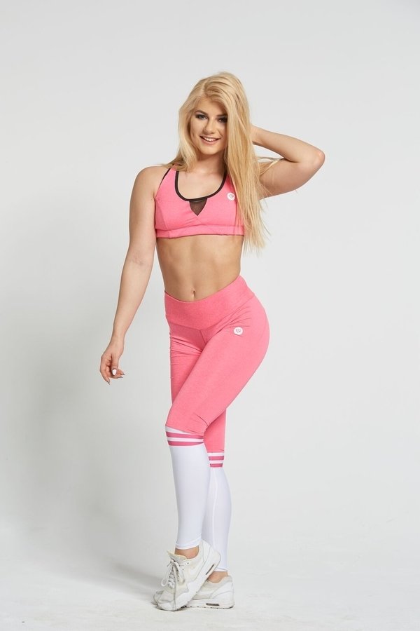 Gym Glamour Legíny Pink & White Socks - S, S - 4