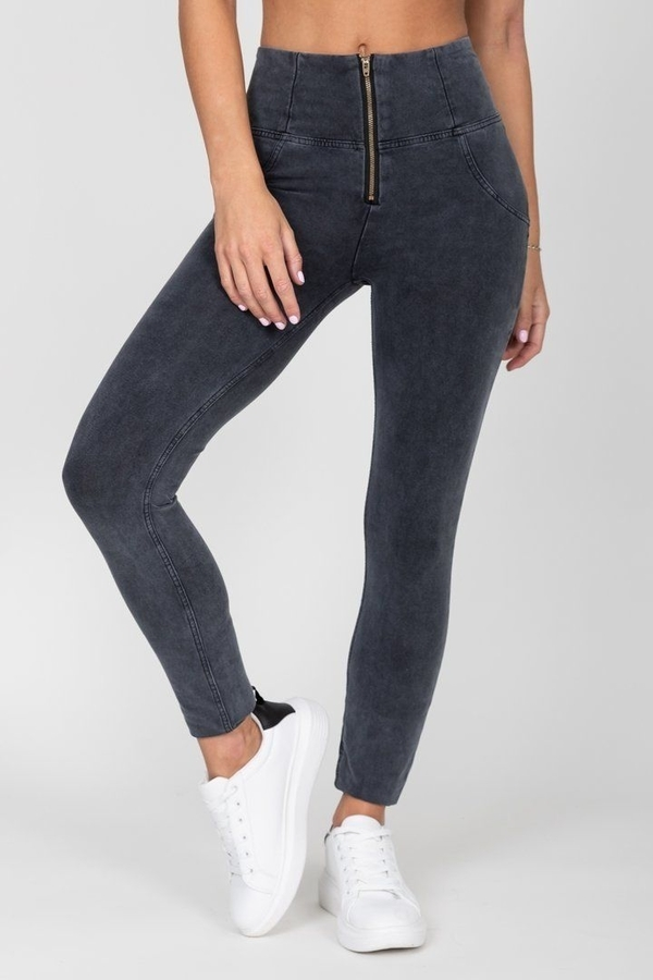 Hugz Grey High Waist Denim Dark Stitch - L, L - 4