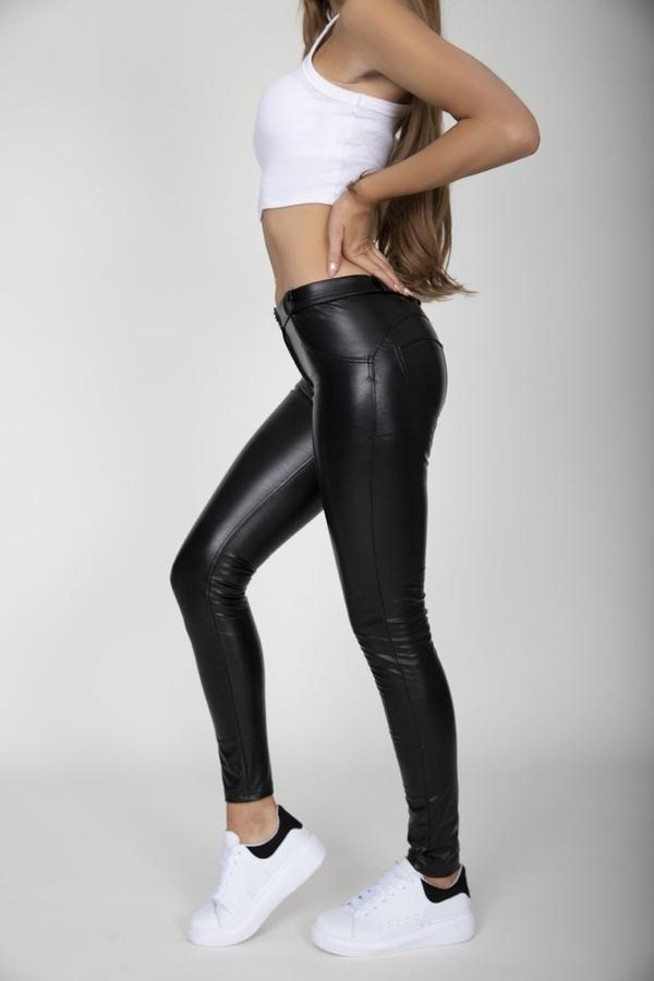 Hugz Black Faux Leather Mid Waist - M, M - 4