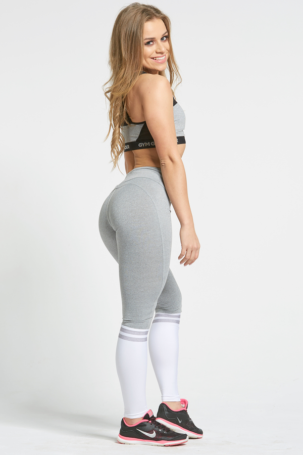 Gym Glamour Legíny Grey & White Socks - M, M - 5