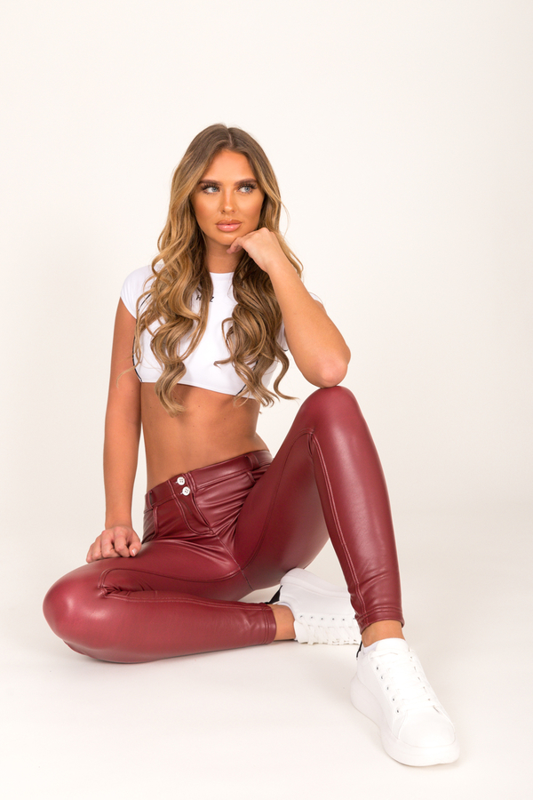 Hugz Wine Faux Leather Low Waist - S, S - 5