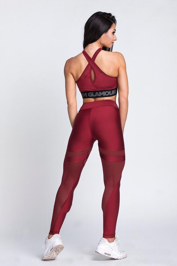 Gym Glamour Leggings Burgund Mesh, L - 5