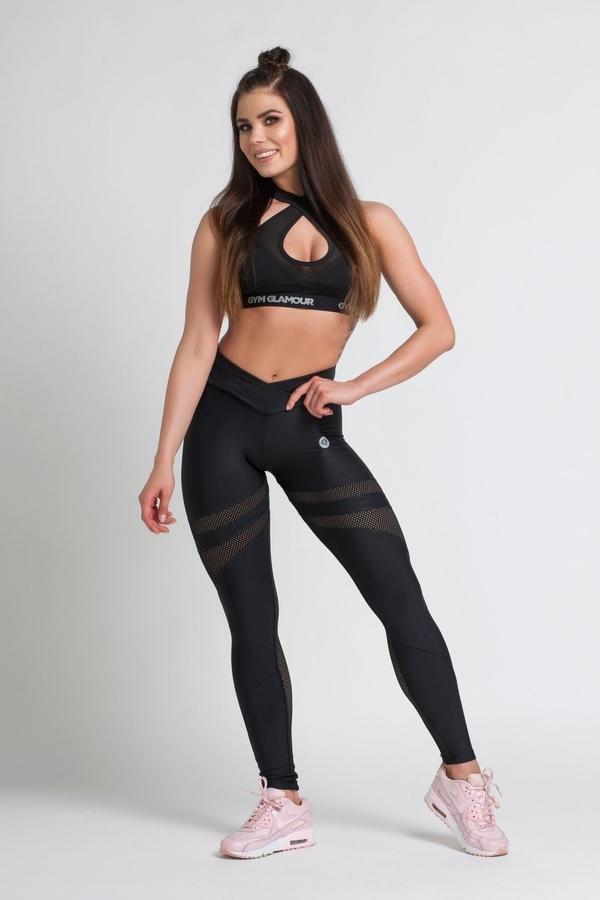 Gym Glamour Legíny Black Mesh - M, M - 5