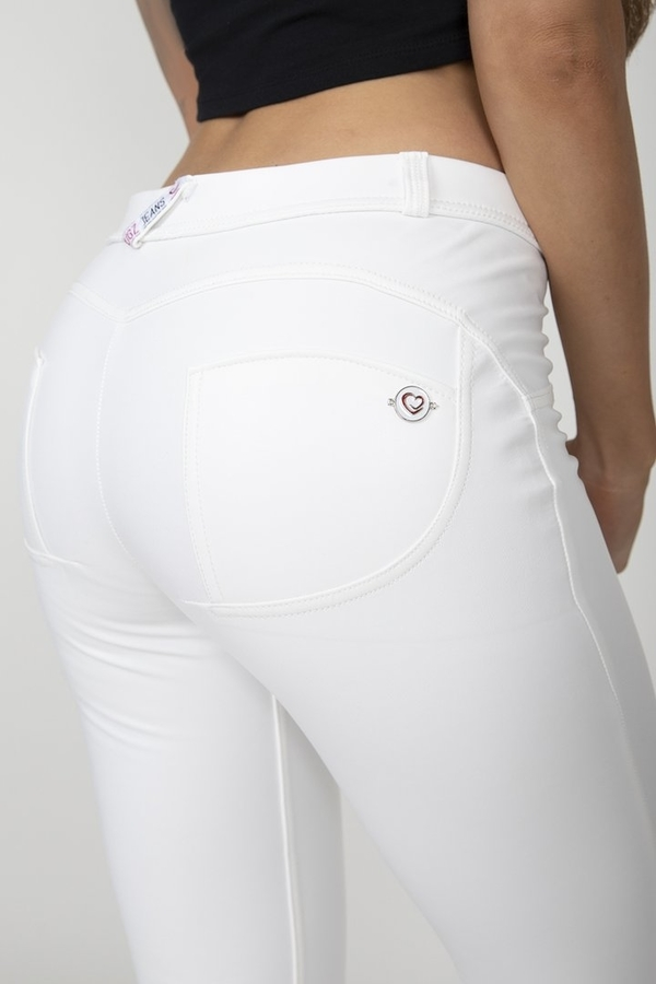Hugz White Faux Leather Mid Waist - M, M - 5