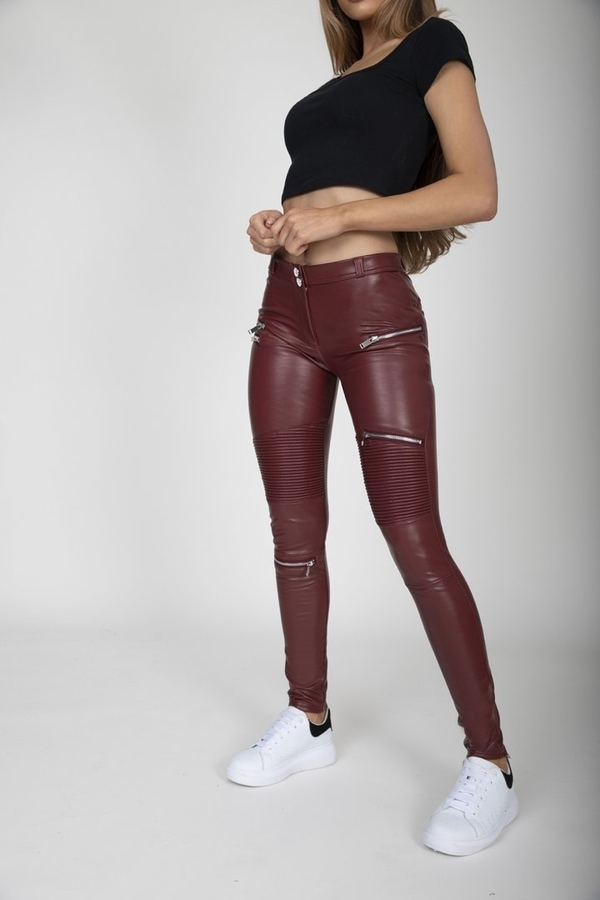 Hugz Wine Faux Leather Biker Mid Waist - M, M - 5