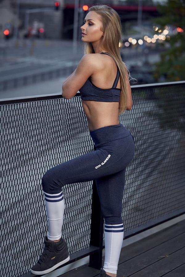 Gym Glamour Leggings Blue Melange & Socks - 6