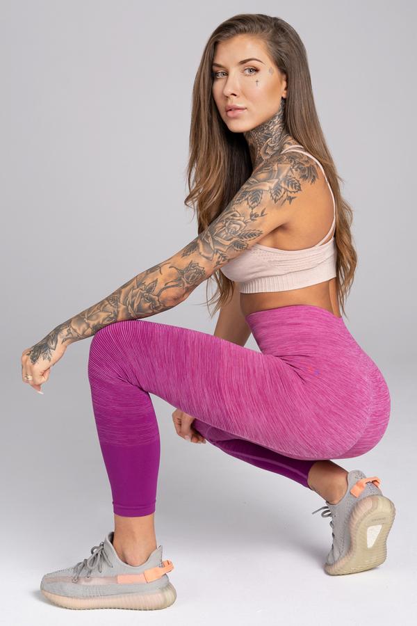 Gym Glamour Legíny Bezešvé Pink Ombré - M, M - 6