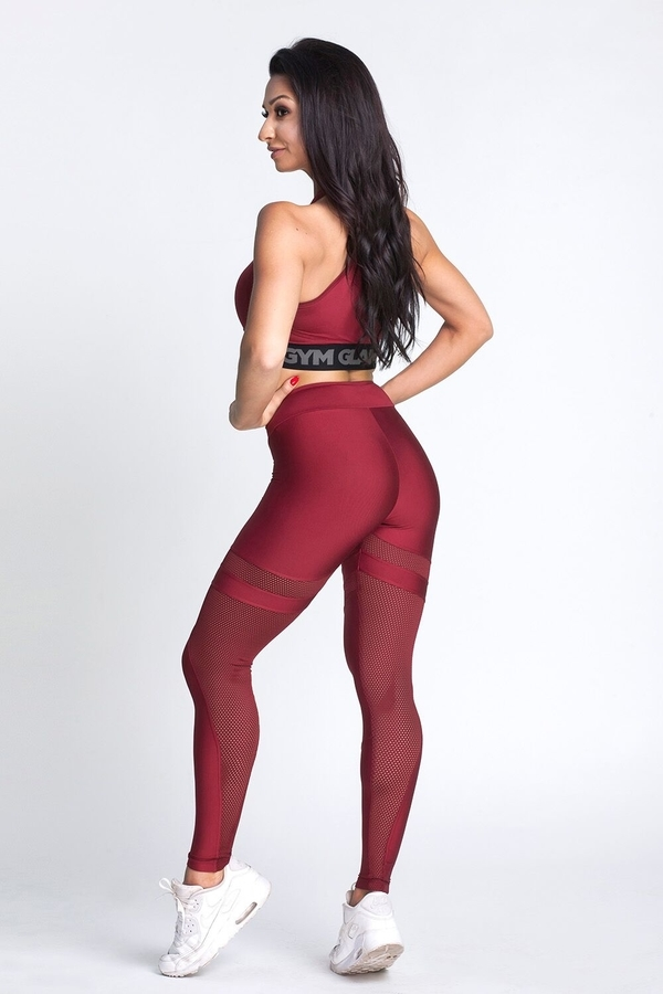 Gym Glamour Leggings Burgund Mesh, L - 6
