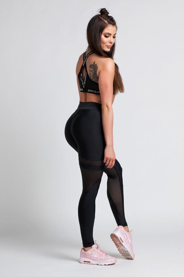 Gym Glamour Legíny Black Mesh - M, M - 6