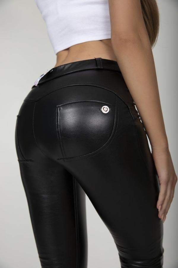Hugz Black Faux Leather Mid Waist - M, M - 6