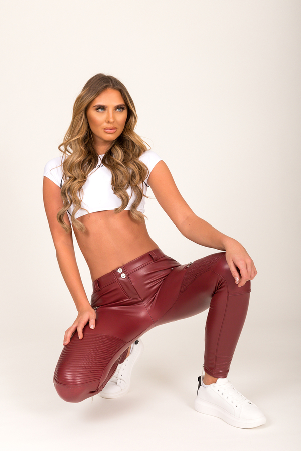 Hugz Wine Faux Leather Biker Low Waist - M, M - 7